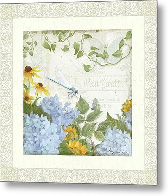 Metal Print featuring the painting Le Petit Jardin 2 - Garden Floral W Dragonfly, Butterfly, Daisies And Blue Hydrangeas W Border by Audrey Jeanne Roberts