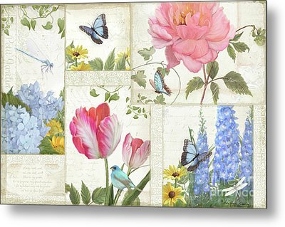 Le Petit Jardin - Collage Garden Floral W Butterflies, Dragonflies And Birds Metal Print