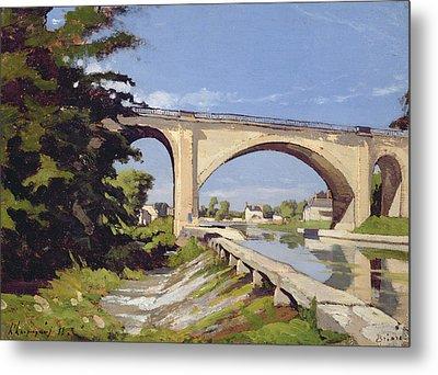 Le Pont Canal A Briare Metal Print by Henri Joseph Harpignies