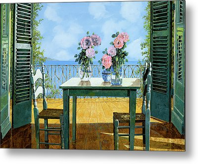 Le Rose E Il Balcone Metal Print by Guido Borelli