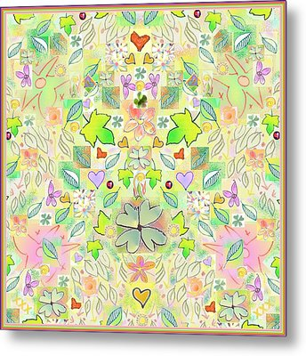 Leaf And Flower And Heart Pattern  Metal Print by Julia Woodman