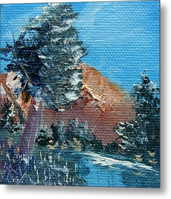 Leaning Pine Tree Landscape Metal Print