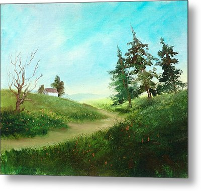 Leaning Trees Metal Print by Sally Seago