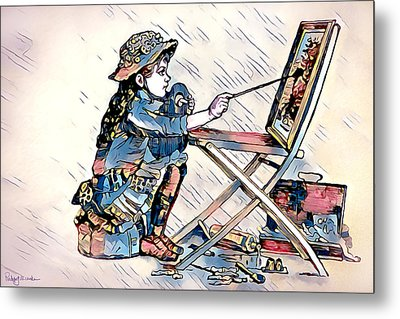 Metal Print featuring the digital art Learning To Paint by Pennie McCracken
