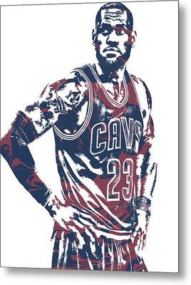 Lebron James Cleveland Cavaliers Pixel Art 25 Metal Print