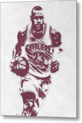 Lebron James Cleveland Cavaliers Pixel Art 4 Metal Print by Joe Hamilton