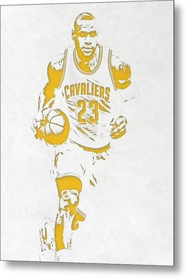 Lebron James Cleveland Cavaliers Pixel Art 5 Metal Print by Joe Hamilton