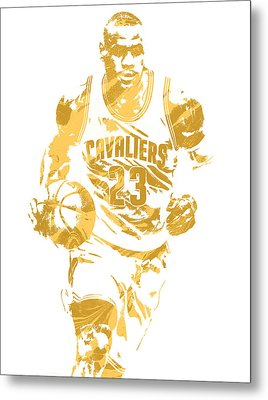 Lebron James Cleveland Cavaliers Pixel Art 7 Metal Print by Joe Hamilton