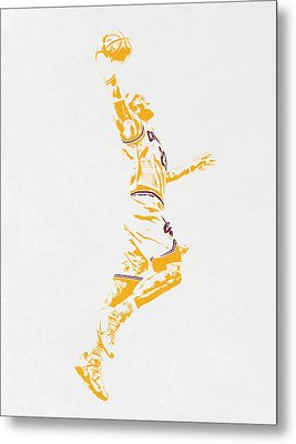 Lebron James Cleveland Cavaliers Pixel Art Metal Print by Joe Hamilton
