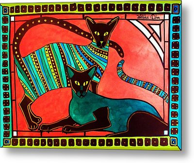 Metal Print featuring the painting Legend Of The Siamese - Cat Art By Dora Hathazi Mendes by Dora Hathazi Mendes