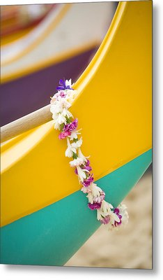 Lei Draped Over Outrigger Metal Print by Dana Edmunds - Printscapes