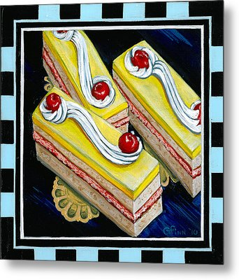 Lemon Bars With A Cherry On Top Metal Print