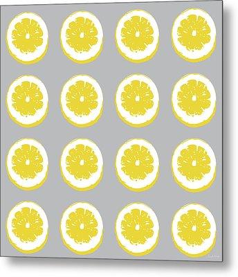 Lemon Slices On Grey- Art By Linda Woods Metal Print