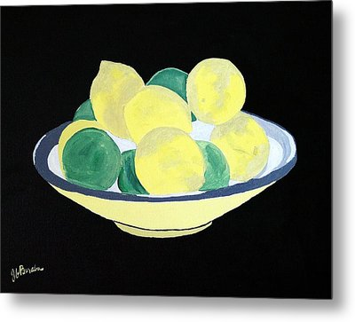 Lemons And Limes In Bowl Metal Print