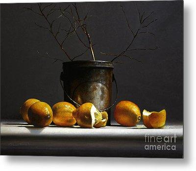 Lemons With Red Twig Dogwood Metal Print
