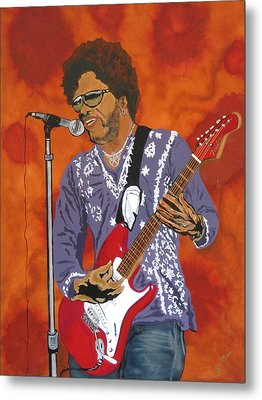 Lenny Kravitz-the Rebirth Of Rock Metal Print by Bill Manson