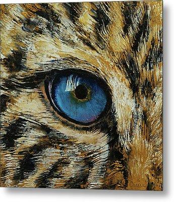 Leopard Eye Metal Print by Michael Creese