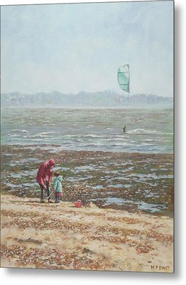 Metal Print featuring the painting Lepe Beach Windy Winter Day by Martin Davey