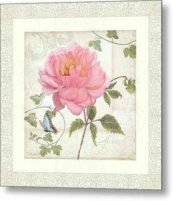 Les Fleurs Magnifiques II - Pink Peony W Vines N Butterfly  Metal Print by Audrey Jeanne Roberts