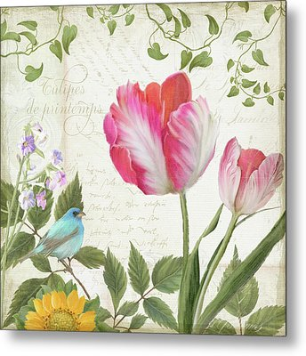 Les Magnifiques Fleurs IIi - Magnificent Garden Flowers Parrot Tulips N Indigo Bunting Songbird Metal Print by Audrey Jeanne Roberts