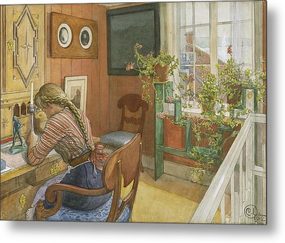 Letter-writing Metal Print by Carl Larsson