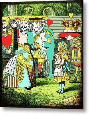 Lewis Carrolls Alice, Red Queen And Cards Metal Print by Marian Cates