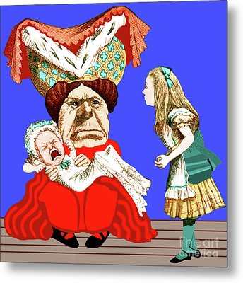Lewis Carrolls Alice, Red Queen And Crying Infant Metal Print by Marian Cates