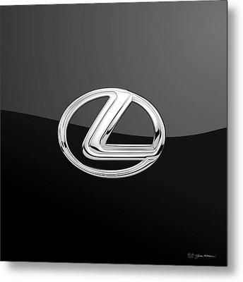 Lexus - 3d Badge On Black Metal Print