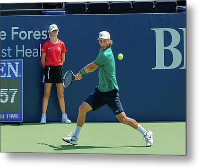 Liam Broady Plays Center Court At The Winston-salem Open Metal Print