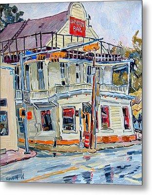 Liberty Bar In San Antonio. Rainy Day. Metal Print by Vitali Komarov