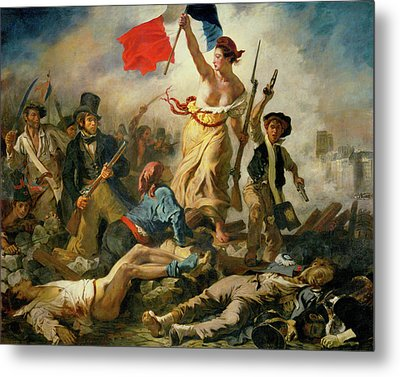 Metal Print featuring the painting Liberty Leading The People By Eugene Delacroix 1830 by Movie Poster Prints