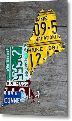 License Plate Map Of New England States Metal Print by Design Turnpike