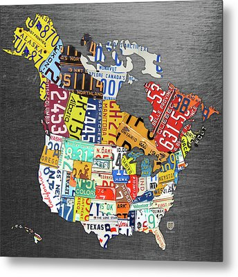 License Plate Map Of North America Canada And The United States On Gray Metal Metal Print
