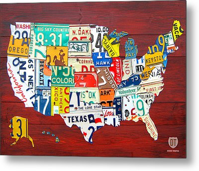 License Plate Map Of The United States - Midsize Metal Print by Design Turnpike