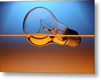 Light Bulb In Water Metal Print