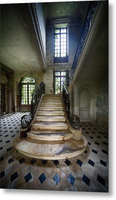 Metal Print featuring the photograph Light On The Stairs - Abandoned Castle by Dirk Ercken