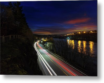 Light Trails On Highway 99 Metal Print by David Gn