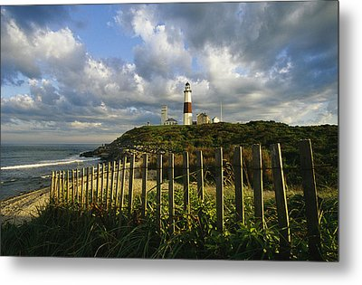 Lighthouse At Montauk With Dramatic Sky Metal Print by Skip Brown