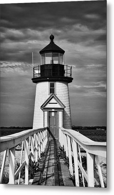 Lighthouse At Nantucket Island II - Black And White Metal Print by Hideaki Sakurai