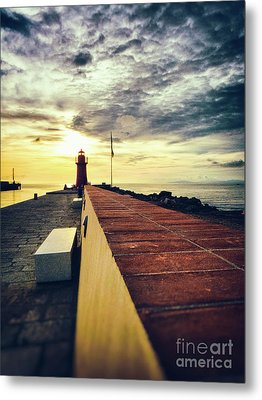 Metal Print featuring the photograph Lighthouse At Sunset by Silvia Ganora