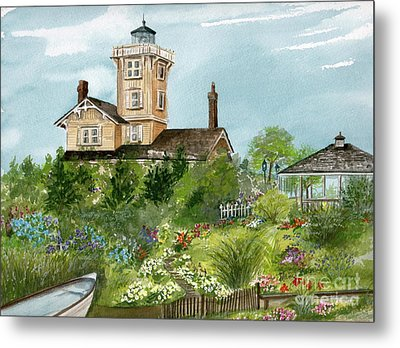 Metal Print featuring the painting Lighthouse Gardens  by Nancy Patterson