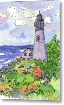 Metal Print featuring the painting Lighthouse In Summer  by Cathie Richardson