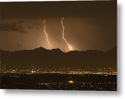 Lightning Bolt Strikes Out Of A Typical Metal Print by Mike Theiss