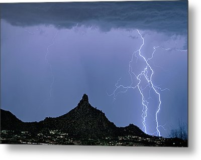 Lightning Bolts And Pinnacle Peak North Scottsdale Arizona Metal Print