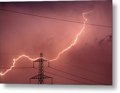 Lightning Hitting An Electricity Pylon Metal Print by Peter Lawson