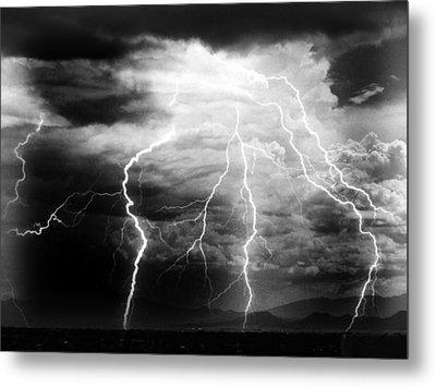 Lightning Storm Over The Plains Metal Print