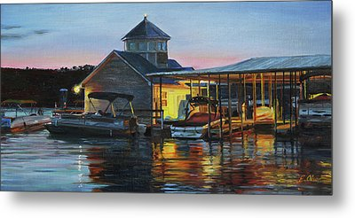 Lights At The Cliffs Marina Metal Print