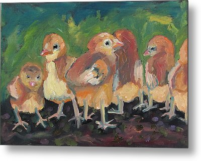 Metal Print featuring the painting Lil' Chicks by Susan  Spohn