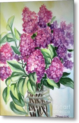 Metal Print featuring the painting Lilac On The Kitchen Table by Inese Poga