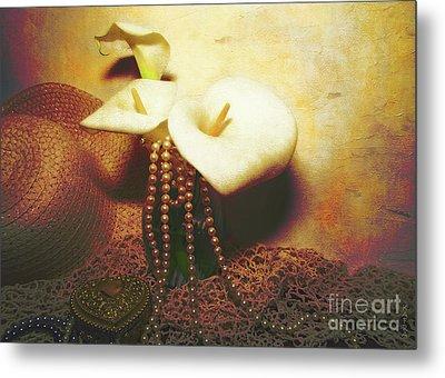 Lilies And Pearls Metal Print by KaFra Art